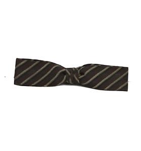 Vintage 80s Rockabilly Silk Striped Multicolor Clip On Bowtie Bow Tie Neck Tie