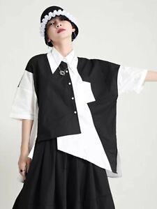 Black White Vtg Dagger Collar Street Swag Urban Edgy Print  Shirt Blouse  12