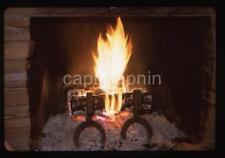 Roaring Fine In Fireplace FINGER LAKES NY Cabin Vtg 1963 Slide Photo Still Life