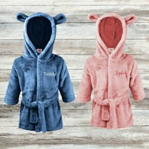 Personalised Baby Boy Girl Dressing Gown, Bath Robe with Bear Ears & Name