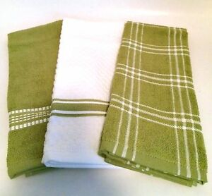 Dish Towels Set of Three Members Mark Green White Quality Kitchen Linens