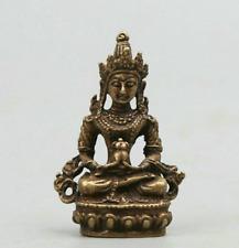 """1.7"""" Nepal Buddhism Bronze Amitayus longevity God Goddess Kwan-yin Small Statue"""
