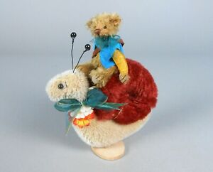 Deb Canham Hurry Up Mohair Bear on Snail Miniature Animal
