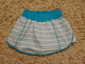 Lululemon Pace Blue White Striped Athletic Skirt Skort Size 0