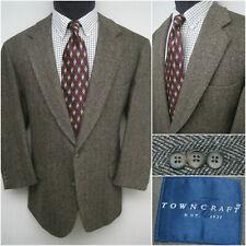 Men's TownCraft 44R Brown Herringbone Tweed 2 Button Wool/Lambswool Sports Coat