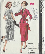 1957 Vintage Sewing Pattern B34 DRESS (1545) By Claire McCardell