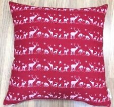 Handmade Christmas Reindeer Red Linen/Cotton Cushion Cover. Various sizes