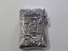 EGYPTIAN REVIVAL  DESIGN STERLING SILVER MATCH SAFE/ VESTA - NEW