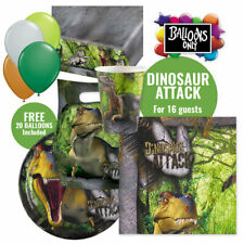 DINOSAUR PARTY SUPPLIES FOR 16 GUESTS PARTY PACK WITH 20 BALLOONS & EXTRA ITEMS