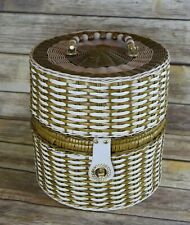 Huge Vintage 60's Hat/Wig Box Woven Wicker Like Handle and Leather Straps Lined