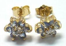 SYJEWELRYEMPIRE 10KT YELLOW GOLD TANZANITE & DIAMOND PLUM BLOSSOM EARRINGS E819