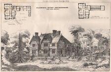 Molesworth Rectory, Huntingdonshire; John Ladds, Architect 1874 old print