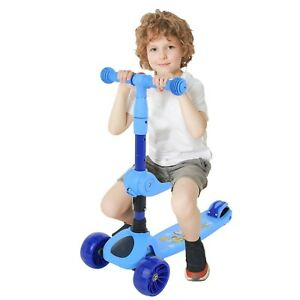 Push Kids Scooter For Boys & Girls Kick Light Up 3 Wheel Adjustable Height Bar