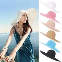 Summer Beach Hat For Women Foldable Wide Large Brim Floppy Sun Straw Hat Cap 3C