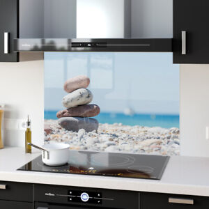 Splashback Kitchen Toughened Glass FHD ANY SIZE Heat-R Pebbles Beach 67578144n