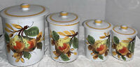 Vintage Set of 4 Canisters Made in Italy Graduated Sizes Signed and Numbered