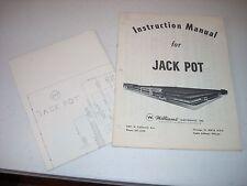 Williams Jack Pot Pinball Manual & Schematic Original Game #397 1971 Vf