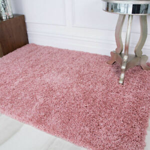 New Non Shed Soft Blush Pink Shaggy Rugs Warm Fluffy Cosy Plain Living Room Rugs