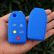 Blue Key FOB Case Cover Skin for Volvo S80 S60 V70 XC70 XC90 D05 Folding Flip