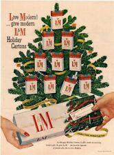 1956 LM Cigarettes - Christmas Tree - Cigarettes For Gift - Holidays VINTAGE AD