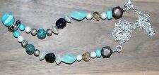 Faux Lapis & Turquoise ~ Blue Glitter ~ Geometric Bead Art ~ Steampunk Necklace