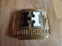 """Antique Art Deco Brass Belt Buckle """"H"""" High School Rockabilly Giant Grip Brand"""