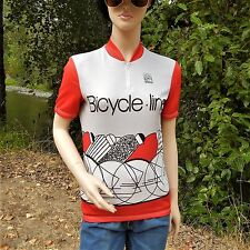 BICYCLE LINE CYCLING JERSEY XS ART DECO 3 POCKETS ITALIAN RED GREY BLACK & WHITE