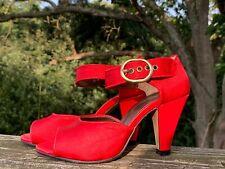 CINDERELLA of BOSTON Red Satin Pumps High Heels Shoes Womens Sz 4.5 W  👠b5