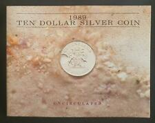 1989 QUEENSLAND $10 SILVER UNC COIN AUSTRALIA - MISSING OUTER  FOLDER SLEEVE