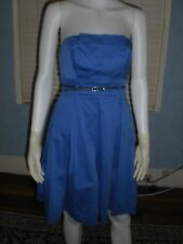 Black Halo Box Pleat Blue Strapless Belt Cocktail Dress Size S