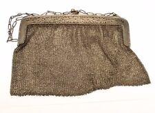 Antique Sterling Silver Mesh Purse Chain Handbag Woven Vtg Floral Ornate Germany