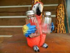 SCARLET MACAW PARROT BIRD SALT PEPPER SET HOLDERS TROPICAL JUNGLE COSTA RICA
