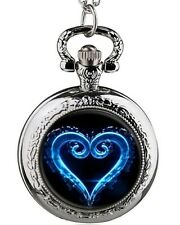 Kingdom Hearts Logo Silvertone Metal Pendant Pocket Watch