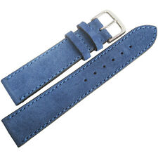 18mm Mens Fluco Royal Blue Suede Leather Made in Germany Watch Band Strap
