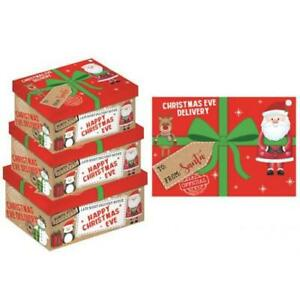 3 x Large Xmas Christmas Eve Gift Box Favour Present Gifts Sweets Candy Boxes