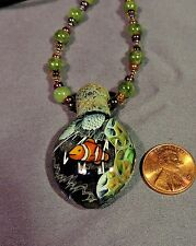 Coral Reef Scene Blown Art Glass Pendant jade beaded necklace nemo fish milli