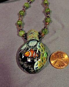 Coral Reef Scene Blown Art Glass Pendant jade beaded necklace nemo fish milli
