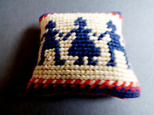 VTG hand made cross stitch sewing in Cushion pillow people kids pattern