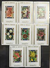 Lot 8 timbres UMM AL QIWAIN. 1972, fleurs Mi:UM 1036AbBL + ...