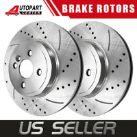 (2) Front Drilled Brake Rotors For Acura Integra Honda Civic Insight Fit