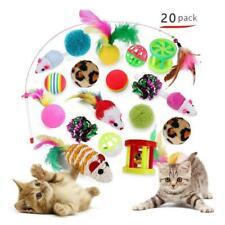 Pet Cat Toys 20pcs Lot Bulk Mice Balls Bell Catnip Play Toy Feathers Teaser Wand