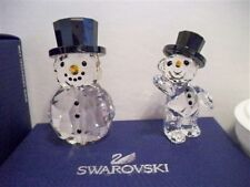 SWAROVSKI SNOWMAN WITH HAT & KRIS BEAR WITH SNOWMAN OUTFIT CHRISTMAS 2015 BNIB