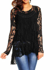 NEW ITALIAN LAGENLOOK LONG SLEEVE LACE CROCHET MESH TUNIC TOP VEST SET Size14-22