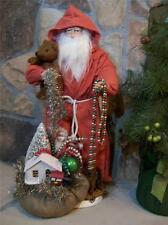 "NIB Ragon 20"" Primitive Old World SANTA Teddy Bear Toy Bag Christmas Scene Decor"