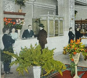 c1920 Lobby Hotel Waldorf Toledo Ohio Vintage Postcard Fireproof