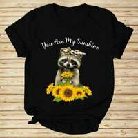 You Are My Sunshine Funny Racoon And Sunflower Nice Gift Unisex Black T-Shirt