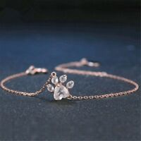 New Fashion Cute Gift Rose Quartz Dogs Footprints Chain Paw Bracelet