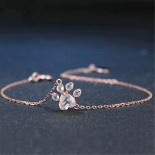 Fashion Cute Gift Rose Quartz Dogs Footprints Chain Paw Bracelet