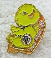 "OIF Las Vegas 1996 Yellow Duck Chick Pin Back Button Souvenir Great Shape 1"""