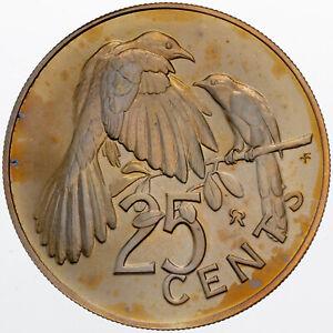 1974 BRITISH VIRGIN ISLANDS 25 CENTS MATTE GOLDEN TONED BU COLOR UNC (DR)